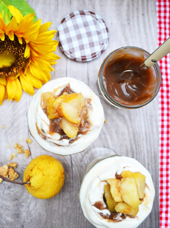Herbstlich und lecker geschichtet! Maroni-Birnen-Dessert im Glas