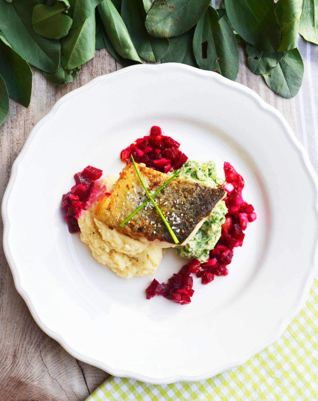 Lust auf Fisch? Gebratenes Saiblingsfilet auf zweierlei Selleriepüree und Rote-Rüben-Maronen-Vinaigrette