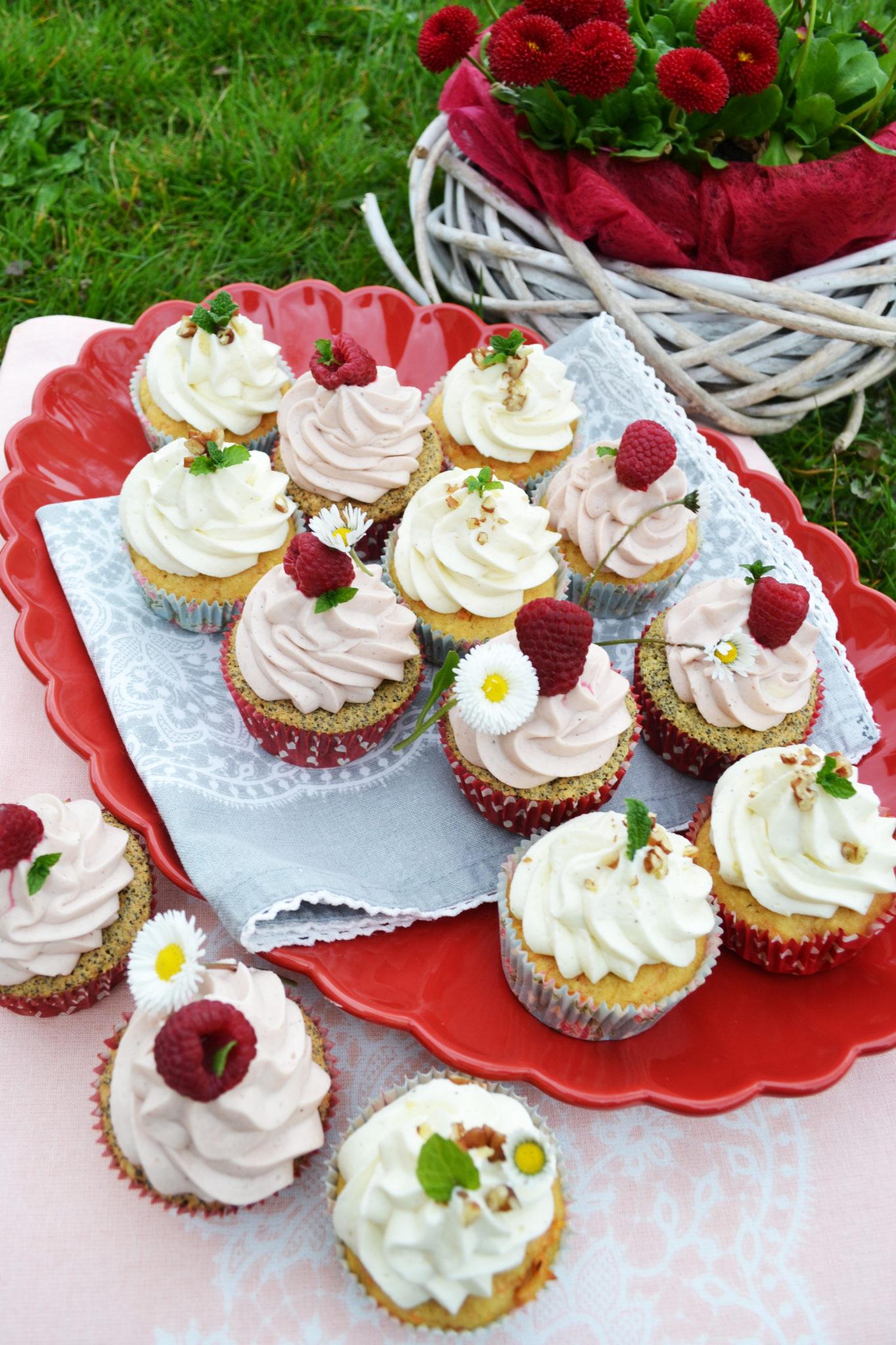 Törtchen mit Sti(e)l! Himbeer-Mohn und Holunder-Karotten-Cupcakes