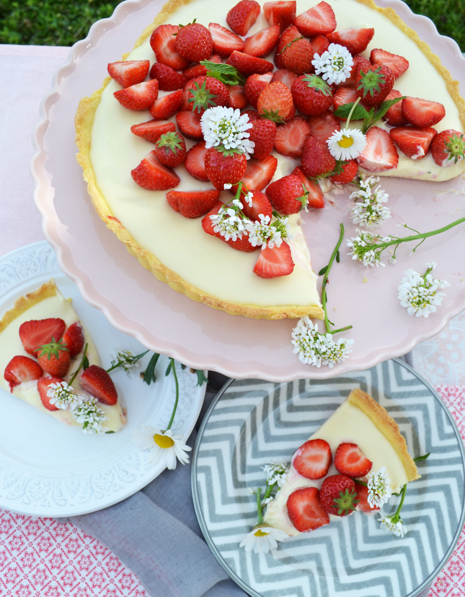 Frühlingsleckereien zum Träumen! Erdbeertarte mit weißer Schokoladencreme