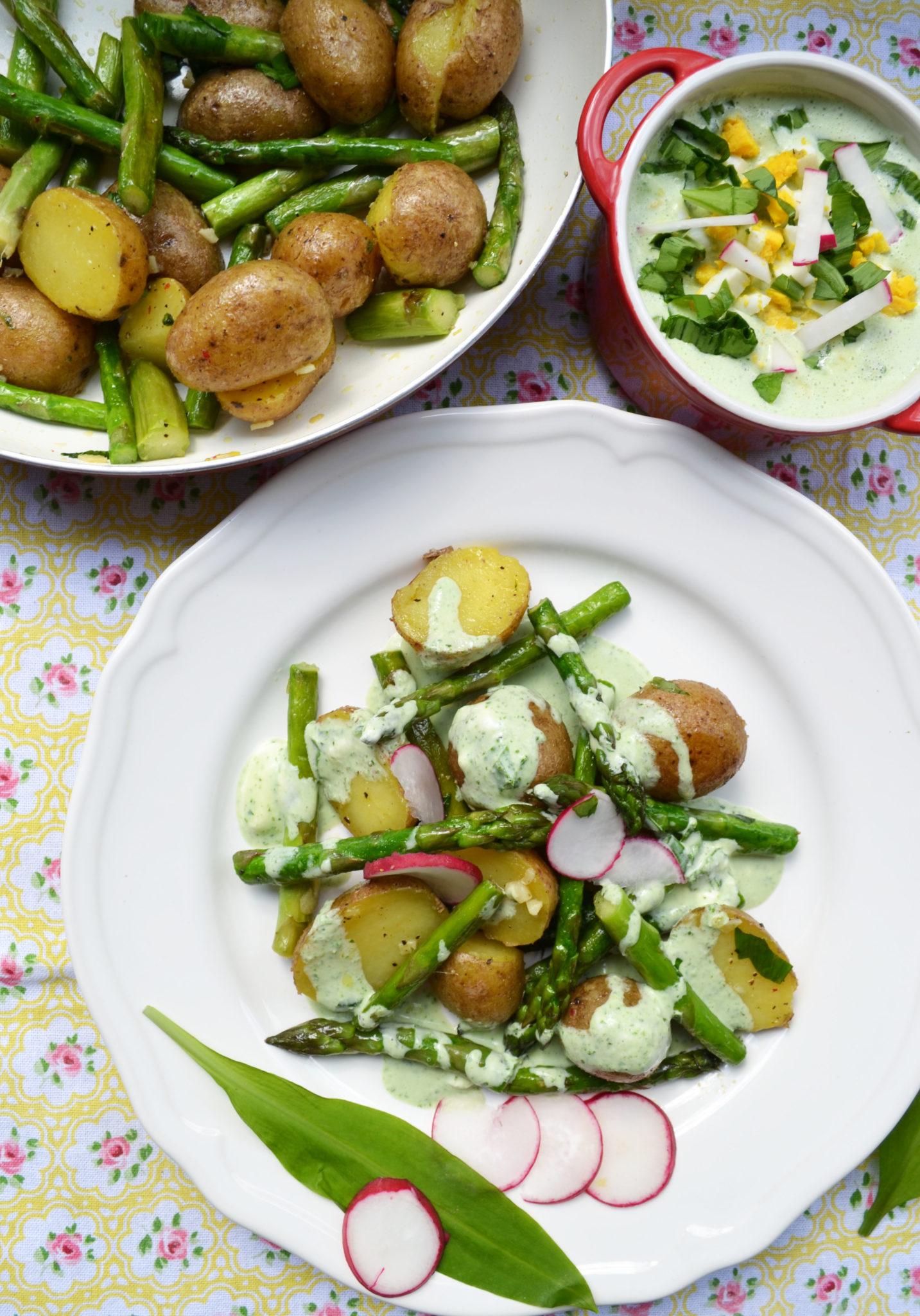 Schnelle Küche! Spargel-Kartoffel-Pfanne mit Frühlingskräuter-Sauce
