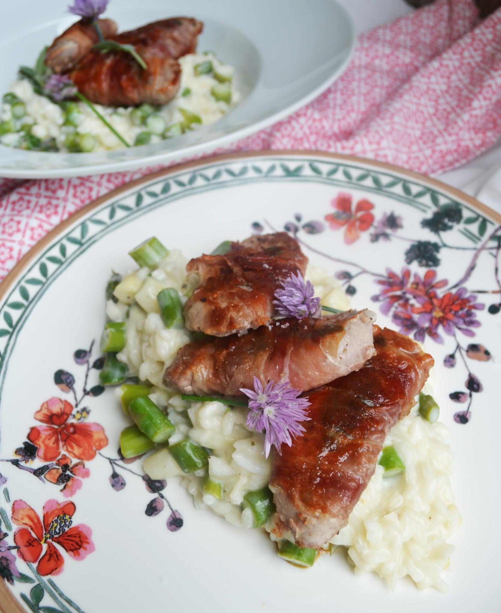 Herrlich fein und aromatisch! Schweinsfilet-Saltimbocca mit Ziegenkäse-Risotto