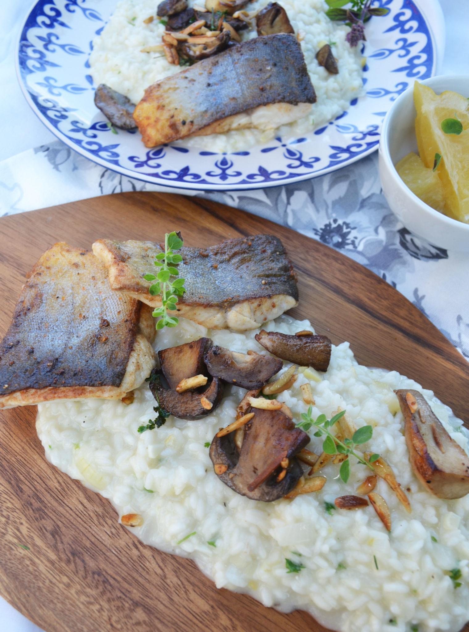 Ein Teller voll mit guten Dingen! Zitronenrisotto mit Saiblingsfilet und Steinpilzen