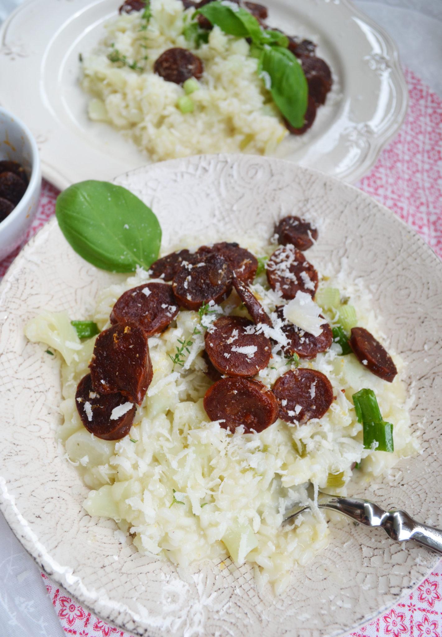 Einfach lecker! Karfiol-Risotto mit knuspriger Chorizo