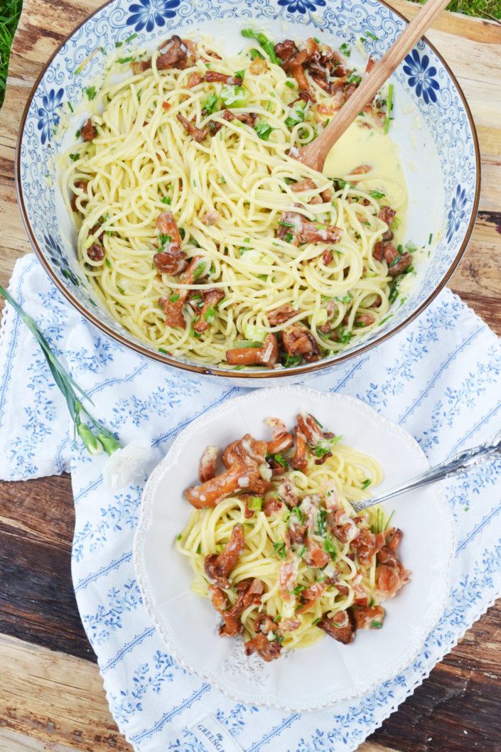Herrlicher Pastaliebling! Spaghetti Carbonara mit Eierschwammerl